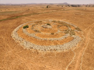 The megalithic structure at Rujm al-Hiri, photo taken by the Phantom 3 drone.
